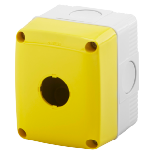 EMPTY ENCLOSURE FOR PUSH-BUTTONS, CONTROLS AND INDICATORS - 1 GANG - DIAMETER 22mm - YELLOW LID - IP66