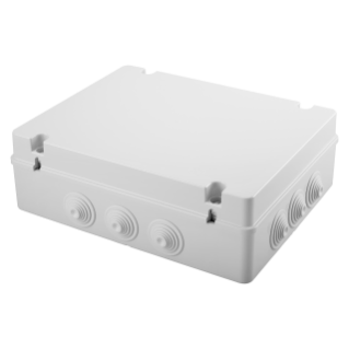 JUNCTION BOX WITH PLAIN SCREWED LID - IP55 - INTERNAL DIMENSIONS 380X300X120 - WALLS WITH CABLE GLANDS - GREY RAL 7035