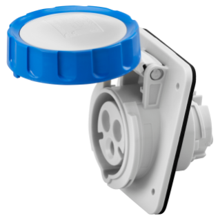 10° ANGLED FLUSH-MOUNTING SOCKET-OUTLET HP - IP66/IP67 - 2P+E 32A 200-250V 50/60HZ - BLUE - 6H - SCREW WIRING