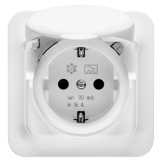 FLUSH MOUNTING RCD SAFETY SOCKET-OUTLET - 16A 0,01mA IP44