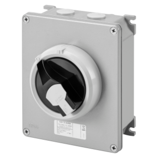 ROTATORY ISOLATOR - HP- SURFACE-MOUNTING - COMMAND - METAL BOX - 16A 3P+N - LOCKABLE BLACK KNOB - IP66