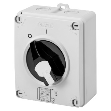 Surface-mounting isolator - control version with lockable black knob - IP66/IP67/IP69