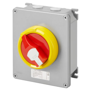 ROTATORY ISOLATOR - HP- SURFACE-MOUNTING - EMERGENCY - METAL BOX - 16A 2P - LOCKABLE RED KNOB - IP66