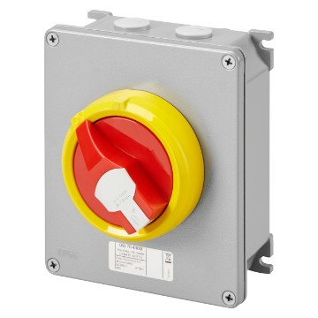 Interruptores de superficie para emergencia, en metal, con maneta roja - IP66