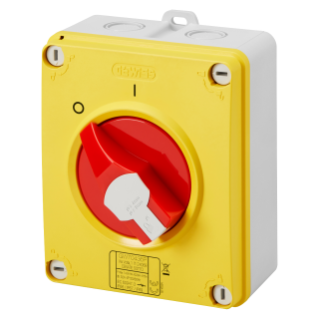 ISOLATOR - HP - EMERGENCY - ISOLATING MATERIAL BOX - 40A 3P+N - LOCKABLE RED KNOB - IP66/67/69