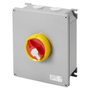 ROTAOTRY ISOLATOR - HP- SURFACE-MOUNTING - EMERGENCY - METAL BOX - 63A 4P - LOCKABLE RED KNOB - IP66