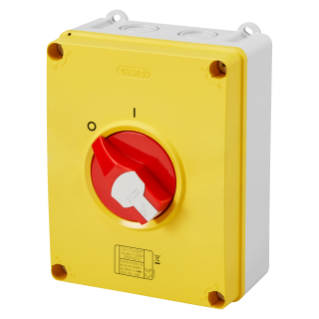 ISOLATOR - HP - EMERGENCY - ISOLATING MATERIAL BOX - 63A 3P+N - LOCKABLE RED KNOB - IP66/67/69