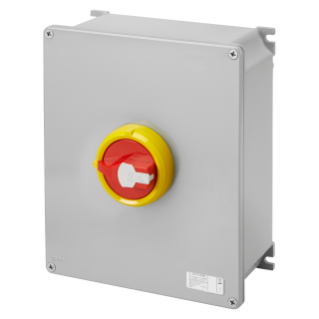 ROTATORY ISOLATOR - HP- SURFACE-MOUNTING - EMERGENCY - METAL BOX - 160A 3P - LOCKABLE RED KNOB - IP66