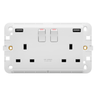 BASE CONMUTADA DOBLE CON USB - 13A - BLANCO