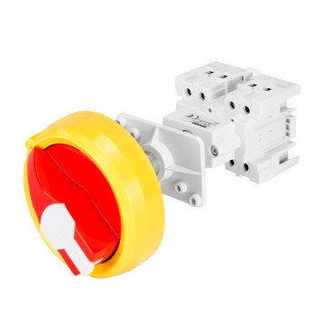 Isolator switches for distribution board with padlockable red/yellow knob and control transmission shaft