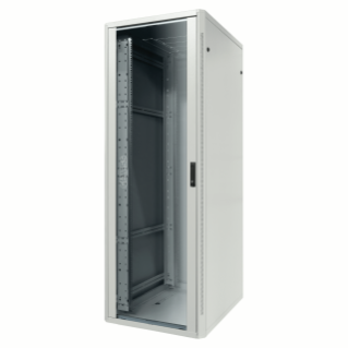 19'' FLOOR RACK CABINET - METAL - TRANSPARENT DOOR - 4 POSTS - 42U - 800X1985X800 - RAL 7035 GREY