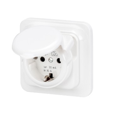 Flush-mounting RCD safety socket-outlets - Type A - Colour polar white Water protected version IP44