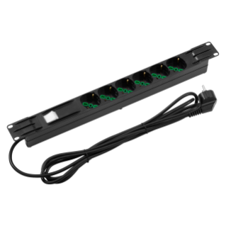 19'' POWER STRIP - 6 SOCKETS 2P+E 16A DUAL AMPERAGE ITALIAN/GERMAN STANDARD - DUAL POLE LUMINOUS SWITCH - 1U - BLACK