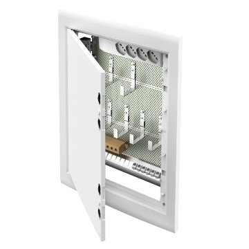 Multimedia enclosure compact version 54 DIN modules - White ral 9016 - Blank door