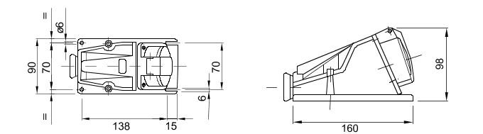 GEWISS GW62481 90º angled surface mounted socket outlet 415V 16A 3P+E IP44